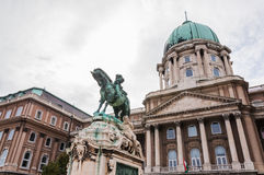 Buda Castle. And the statue of Prince Eugene of Savoy, Budapest, Hungary Stock Image