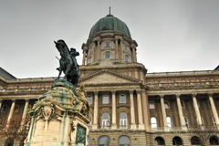 Buda Castle and the statue of Prince Eugene of Savoy Royalty Free Stock Photo