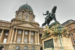 Buda Castle and the statue of Prince Eugene of Savoy. Budapest, Hungary Royalty Free Stock Photo