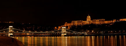 Buda castle and Szechenyi bridge Stock Photos