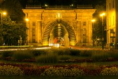 Buda castle tunnel in Budapest. By night royalty free stock photo