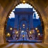 Buda Castle Tunnel e ponte a catena, Budapest Fotografia Stock