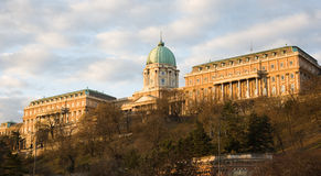Buda castle in very early moring light. Stock Photos