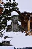 Buda coberto de neve, Kyoto Japão Foto de Stock