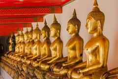 Buda de oro hermoso en el pedestal, algunas paredes blancas imágenes de archivo libres de regalías