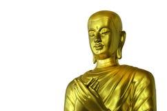 Buda dourada da cara no fundo branco com trajeto de grampeamento Fotos de Stock