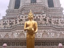 Buda ereta dourada no templo de Wat Arun, Banguecoque, Tailândia imagens de stock