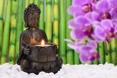 A Buda está sentando-se no jardim do ZEN Imagem de Stock