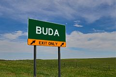 US Highway Exit Sign for Buda. Buda `EXIT ONLY` US Highway / Interstate / Motorway Sign Stock Image