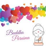 Buda feliz Purnima o día del vesak ilustración del vector