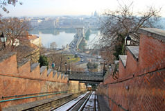 Buda funiculaire, Budapest, Hongrie Photo stock
