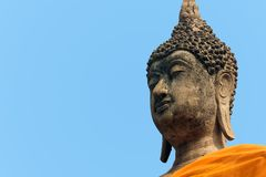 Buda grande hace frente en el templo de Wat Yai Chaimongkol en Ayutthaya fotos de archivo libres de regalías