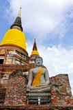 Buda i Ayutthaya thailand Royaltyfria Bilder