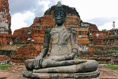 Buda i Ayutthaya thailand Fotografering för Bildbyråer
