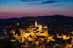 Buda kasztel, Budapest półmroku widok Obrazy Royalty Free