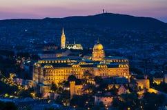 Buda kasztel, Budapest zmierzch Zdjęcia Stock