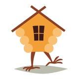 Buda na kurczak nogach wektorowych Kreskówka dom z okno, baby yaga dom Obrazy Stock
