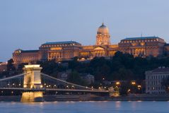 Buda palace and chain bridge Royalty Free Stock Images