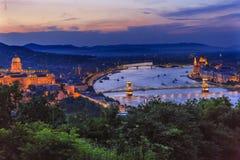 Buda Palace Parliament Chain Bridge Danube River Budapest Hungria fotografia de stock royalty free
