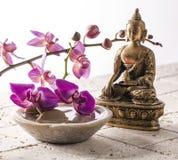 Buda para la actitud del zen con la piedra y las flores Fotos de archivo libres de regalías