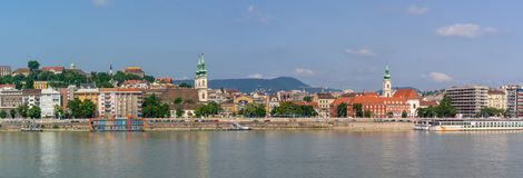 Panoramic view on Buda quarter from Pest. Between Buda and Pest, Danube River is a must for a short cruise. impressive architecture, culture and history stock images