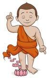 Buda que anda e que deixa Lotus em suas etapas, ilustração do vetor ilustração do vetor