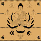 Buda que senta-se nos lótus Imagens de Stock Royalty Free