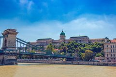 Buda Royal castle in Budapest. Buda Royal castle building in Budapest above Danube river in Hungary stock photography