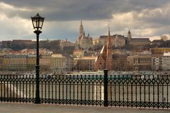 Buda side of Budapest city under storm cloud royalty free stock image
