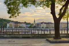 Buda side of Budapest historical riverfront view stock photography