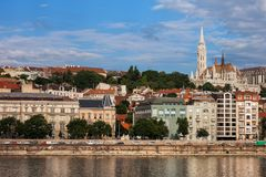 Buda Skyline in Budapest City. Hungary, Budapest city, Buda side skyline with Matthias Church on top right, Danube river waterfront royalty free stock photos