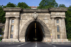 Buda Tunnel in Budapest. Buda Tunnel under the Castle Hill, opened in 1856, 350 meters long, located in the city of Budapest, Hungary Stock Photos