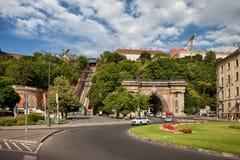 Buda Tunnel und Schloss-Hügel funikulär in Budapest Stockfotografie