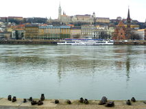 Buda view from shoes monument. Shoes monument and buda view across the Danube royalty free stock photography