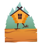 Buda w lasowym wektorowym logu Kreskówka stary dom na kurczak nogach z okno, baby yaga dom Zdjęcie Stock