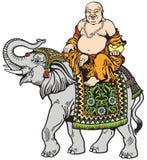 Buda y elefante felices Fotos de archivo