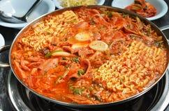 Budae jjigae hot pot. Close up budae Jjigae hot pot Stock Photo