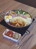 Budaejjigae delicious Korean noodles in a pot Royalty Free Stock Photos