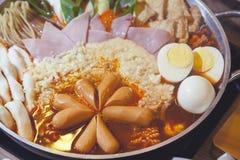 Budaejjigae delicious Korean noodles in a pot Royalty Free Stock Photo