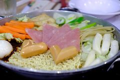 Budaejjigae or Instant noodles hot pot Korean style Royalty Free Stock Images