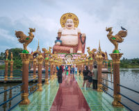 Budai, the Chinesse Style Laughing Buddha, in Wat Plai Leam Temple on Koh Samui Island, Thailand Stock Photography