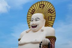 Budai or Pu-Tai or Happy Buddha or Laughing Big Buddha statue at. Wat Plai Laem Temple in the Ko-Samui or Samui island in Thailand stock photo