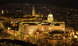 Budapest. The Buda Castle in Budapest, Hungary at night stock image