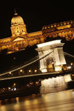 Budapest. Nighttime panorama of Buda castle (Budai Var) and Szechenyi chain bridge over Danube in Budapest, Hungary Royalty Free Stock Photo