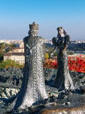 Budapest. Statue symbolizing two parts of Budapest, Buda and Pest, with Budapest view in the background Stock Images
