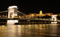 Budapest. The Royal palace of Buda and the Chain Bridge in Budapest by night Royalty Free Stock Photography
