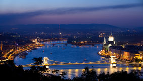 Budapest. View of river Danube and Chain Bridge in Budapest shot during magic hour just after sunset Stock Photos