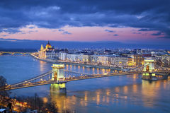 Budapest. Image of Budapest, capital city of Hungary, during twilight blue hour Royalty Free Stock Images