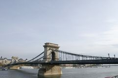 Budapest. Famous chain bridge cross Danube, Budapest royalty free stock photo