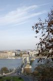Budapest. Famous chain bridge cross Danube, Budapest royalty free stock image